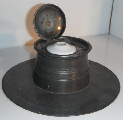 """Large Antique 19th Century CAPSTAN PEWTER INKWELL 7"""" 18cm"""