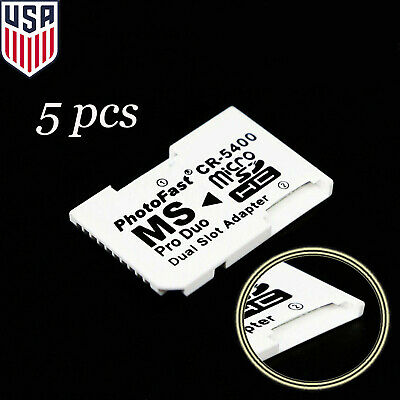 5x Dual Micro SD TF to Memory Stick MS Pro Duo PSP Card 2 Slot Adapter Converter