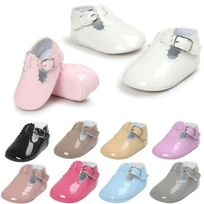 AU Baby Girls Anti-slip PU Leather Crib Shoes Soft Sole Sneakers Prewalker 0-18M