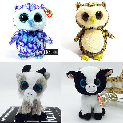 "TY 6"" Beanie Boos Owl Goat Cows Plush Doll CollectibleS Stuffed Toy Kid GiftS"