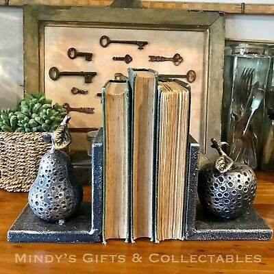 Pair of Heavy Metallic Silver Apple & Pear Book Ends Bookends Ornament RRP $69