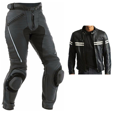 White-Stripe MOTORBIKE LEATHER SUIT BIKER JACKET PANT MOTORCYCLE LEATHER SUIT