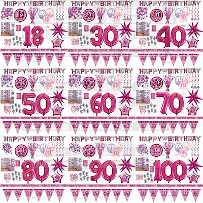 Pink Glitz Milestone Birthday Party Tableware Decorations 13 - 100 All Occasions