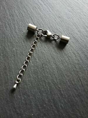 2 Sets Stainless Steel End Caps for 4.5mm to 5mm Cord with 13mm Clasp & Chain UK