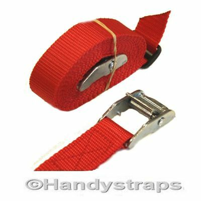 SET of 2 x 25mm 1.5 meter RED endless tie down Cam buckle Car Luggage straps