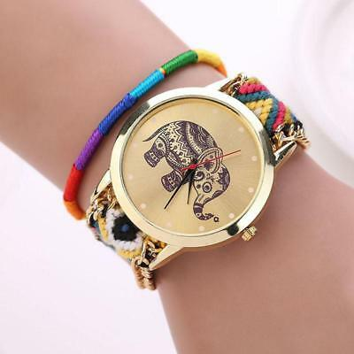 Women Girl Handmade Braided Elephant Bracelet Dial Quarzt Watch