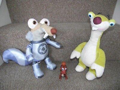 Ice Age Collision Course Soft Toy Bundle Sid and Scratt plus Scratte McD Toy