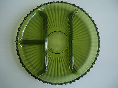 Vintage Art Deco Green Depression Indiana Glass Divided Platter