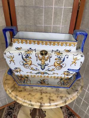 ANTIQUE FRENCH FAIENCE GIEN RENAISSANCE DOUBLE HANDED JARDINIERE  Circa.1850