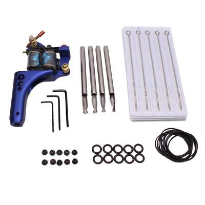 Complete Tattoo Blue Machine Needle Nozzle Nipples Grommets Supply Kit Set