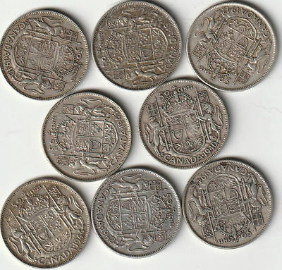 1940-1952 Assorted King George Vi  Circulated Cdn Half Dollars -  80% Silver