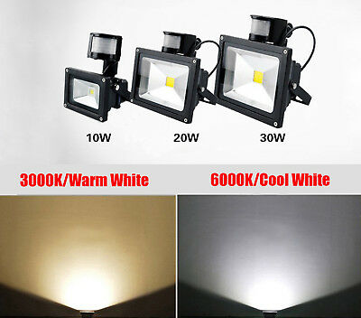 10W-30W LED Outdoor Floodlight PIR Motion Sensor Security Flood Light Carpark
