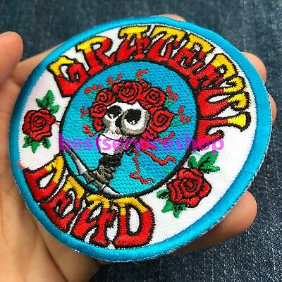 The Grateful Dead Skull Rose Rock Band Embroidered Badge Iron Sew On DIY Patch