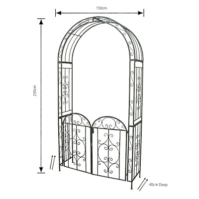 Arch With Gate Antique Green Metal Steel Wedding Garden Climbing Frame Arbour