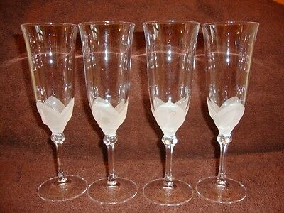 J.g.durand Art Glass Champaign Goblet Set Of 4 Signed
