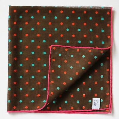 Cotton & cashmere brown spotted pocket square / neckerchief Hand rolled.