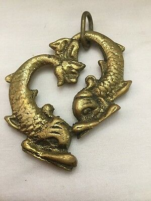 "Estate Vintage Heavy Brass Asian Amulet Pendant Entwined Fish 3"" X 2"""