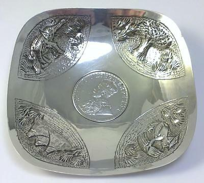 Antique Indian Sterling Silver One Rupee Coin Dish – c1918  (48g)