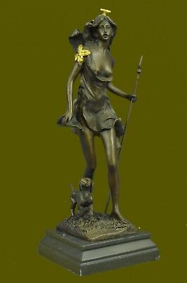"Bronze Diana The Huntress w/ dog statue""Diana with Dachshund"" Signed Vitaleh Art"