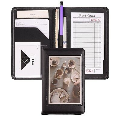 Leather Guest Check Presenter/Waiter Book Server Organizer Restaurant (Black/...