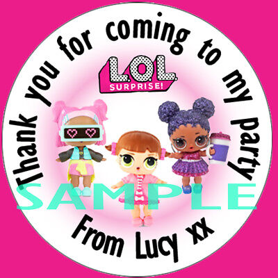 LOL Surprise Personalised Stickers labels Birthday Party For Sweet Cone Bags
