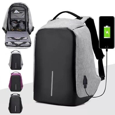 Anti Theft Water Proof Backpack USB Charger Port Laptop Cross Body Travel Bag UK