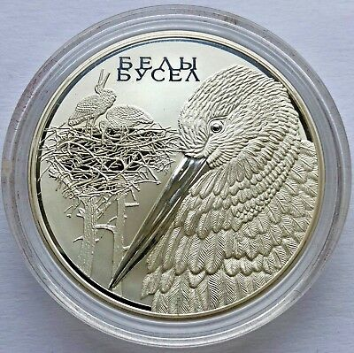 "Republic of Belarus SILVER coin 20 Rubles ""White stork"" 2009"