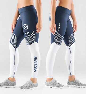 Virus Women's Compression Pant ECO21.5 Navy/White,Crossfit Open, Gym, Running