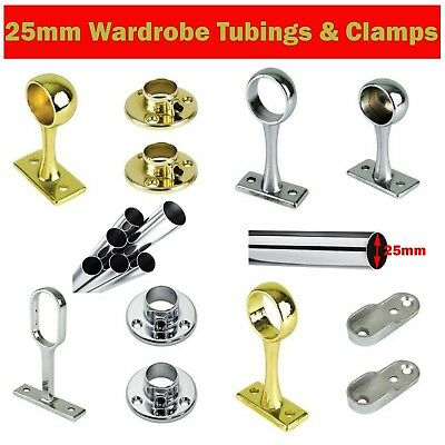 25mm CLOTHES GARMENT RAIL WALK IN WARDROBE CHROME & BRASS TUBING HANGING SYSTEM