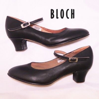 "Bloch Dance Shoes Character 2""heel Leather Upper/sole Coton Lining Black 8 Euc"