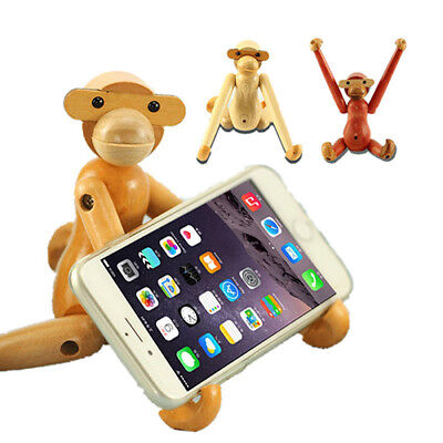 Wood Wooden Monkey Denmark Doll Toy Desktop DIY Phone Stand Holder for iPhoneX8