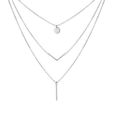 """S925 Sterling Silver Triple Layer Pendant Choker Necklace for Women 16""""+2"""" Chain"""