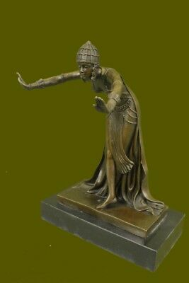 Bronze Modern Vintage Art Deco Sculpture DH Chiparus Female Dancer Metal Statue