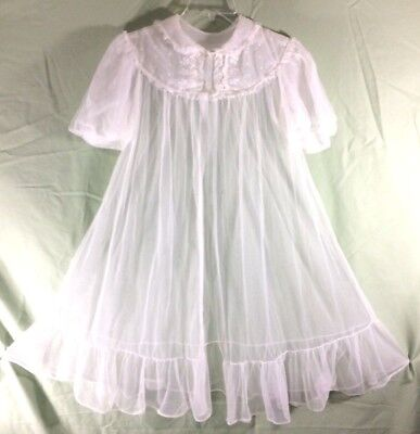 Vintage Radcliffe Sheer White Babydoll Peignoir Robe Only Size Medium