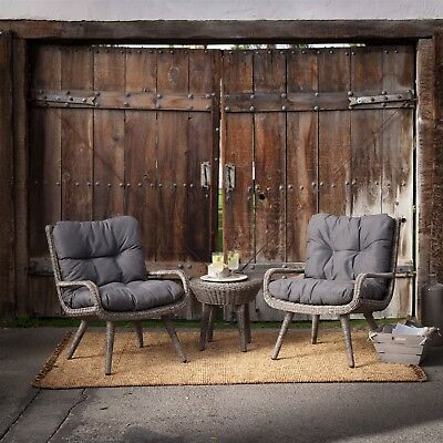 Weather Resistant Wicker Resin Patio Furniture Set 2 Chairs