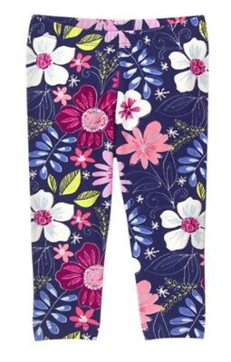 Gymboree Mix N Match Floral Flower Blue Leggings Pants Girls Nwt Capri M 7 8