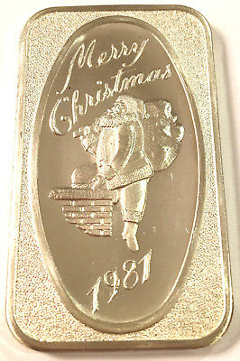 1981 Dahlonega Mint Merry Christmas 1981 1Troy oz .999 Sterling Silver Art Bar#1