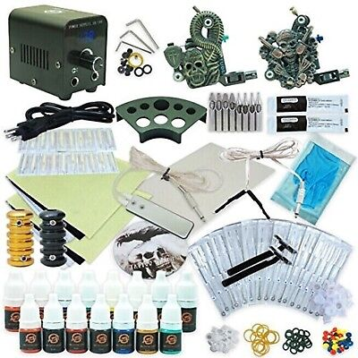 1TattooWorld Professional Tattoo Kit 2 Tattoo Machines, Digital Power Supply,...