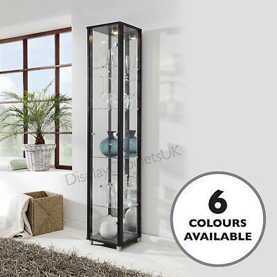 HOME Single Glass Display Case / Cabinet Black Mirror Back Light Lockable Option