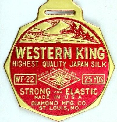 C.1910 Western King Pure Japan Silk Trout Fly Fishing Line Label Tag Unused F41