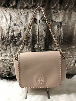 e0c597700116 NWT TORY BURCH Marion Pebbled Leather Flap Shoulder Bag Light Oak Pink  +Receipt!