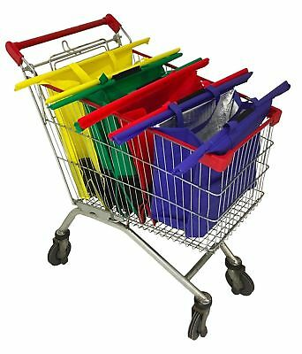 Grocery Shopping Cart Bag, Set of 4 Reuseable Bags, Great for use in Aldi