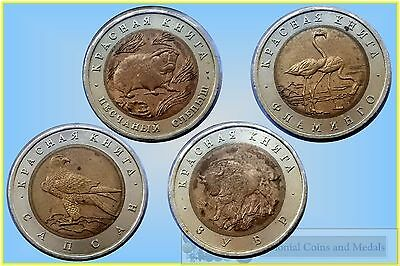 Russia 1994 Animal Series 50 Rouble Bi-Metallic Coins x 4