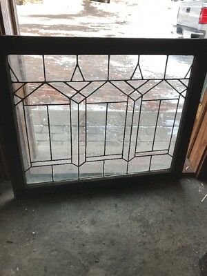 Sg 1864 Antique Deco Design Leaded Glass Landing Window 28.75 X 34.5