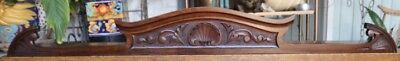 """Lovely c1900  56"""" American Shell Themed Antique Mahogany Pediment, Crown, Crest"""