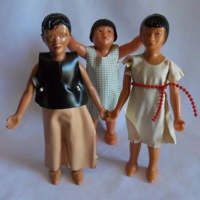 """Vintage 1940 5"""" Plastic Asian Doll Family Dollhouse Mom Dad Baby Old Japan China"""