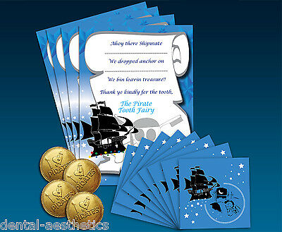 Pirate Tooth Fairy Deluxe Gift Set ~ 8 Envelopes 4 Certificates 4 Choc Coins