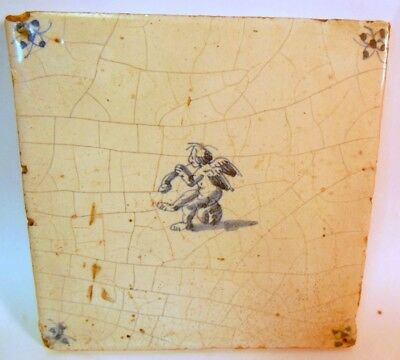 Rare 17th 18th C DELFT Dutch TILE CHERUB Angel Horn  Dutch Holland