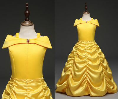 US STOCK  Girls Beauty and the Beast Princess Belle Party Gown Pageant Dress B1