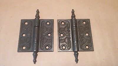 "Pair Antique Ornate Victorian Cast Iron Hinges: Restored Clark 3"" x 3"""
